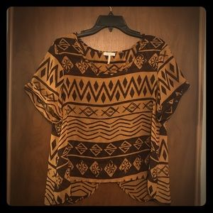 Kirra brown flowy overlay blouse size Large